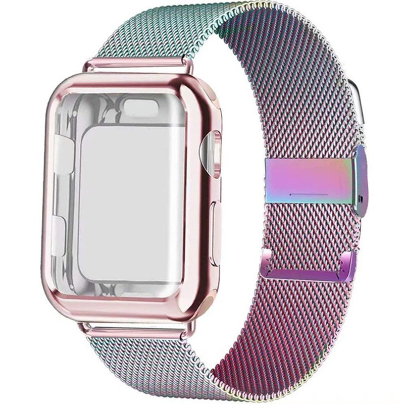 Watch Strap Case For Apple Watch Band 5 4 44mm 40mm Iwatch 42mm 38mm Milanese Loop Bracelet Stainless Steel Watchband Iwatch 3 2