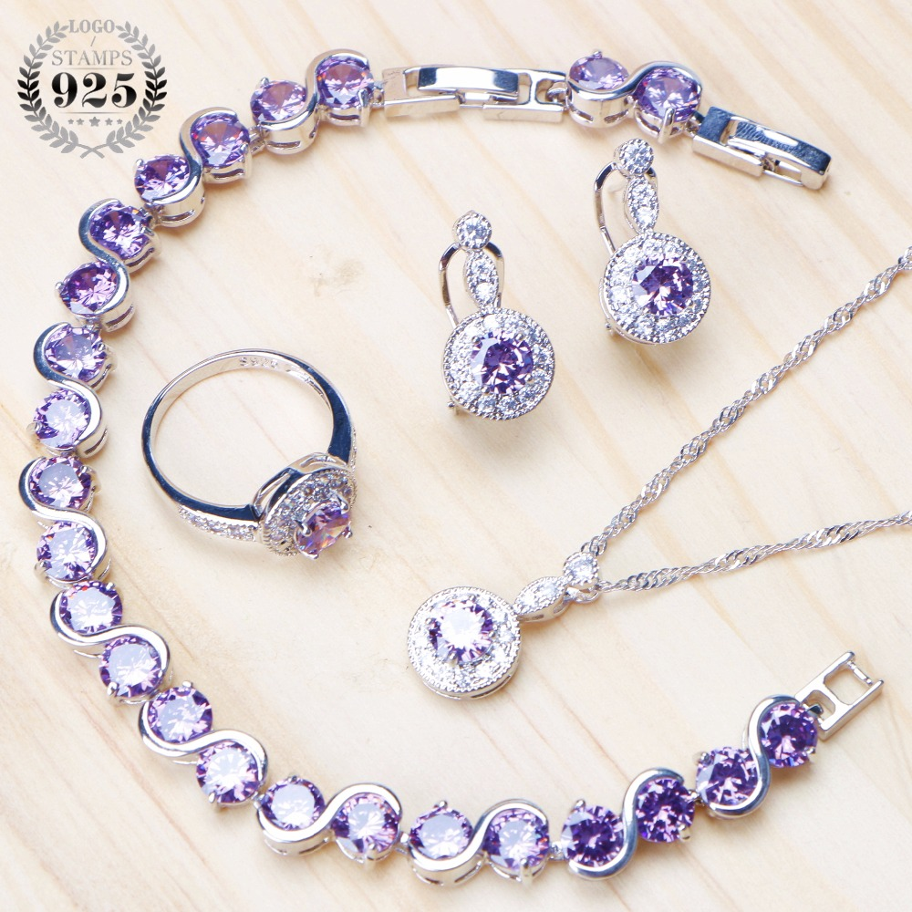 925 Sterling Silver Bridal Jewelry Sets For Women Zircon Earrings Bracelets Necklace Pendant Rings Wedding Set Free Gifts Box