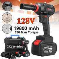 128V 520NM clé électrique sans brosse 19800mAh grande capacité clé électrique outil 1 ou 2 Batteries au Lithium 110 V-240 V 50/60Hz