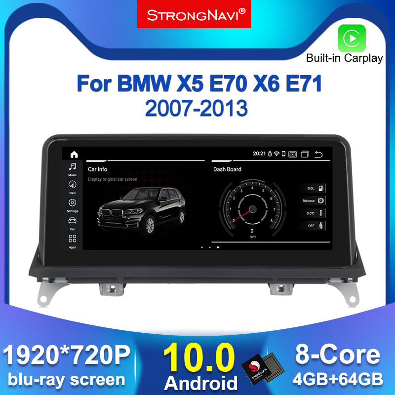 IPS Screen Android 10.0 Car DVD Player for <font><b>BMW</b></font> X5 <font><b>E70</b></font>/X6 E71 (2007-2013) CCC/CIC System GPS Navigation Auto Radio Multimedia image