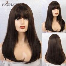 EASIHAIR długie ciemne brązowe peruki syntetyczne proste z Bangs naturalne peruki dla kobiet afroamerykanów żaroodporne Cosplay peruki