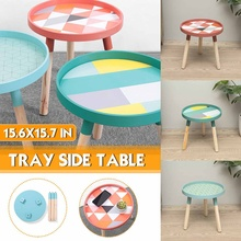 Small Table Furniture-Side Round Living-Room Sofa Solid-Wood-Tray Simple