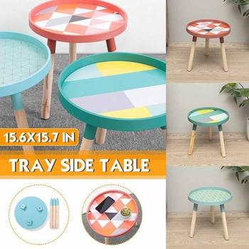 Stolik rozkładany stolik stolik kawowy do salonu stolik meblowy stolik prosty stolik mały okrągły solidna taca drewniana tanie i dobre opinie CN (pochodzenie) Metal Nowoczesne SKUG75180 Minimalistyczny nowoczesny ROUND Samowystarczalny