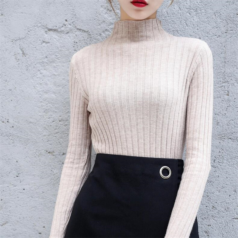 2020 Autumn And Winter Half-high Collar Tight-fitting Sweater Female Slim Long-sleeved Head Short Paragraph Inside Knitting