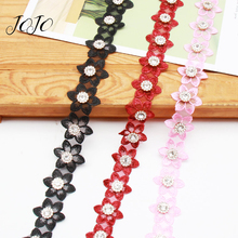 JOJO BOWS 30mm 1y Diamond Six Petal Flower Lace Ribbon For Craft Trims Fabric Needlework Clothes Decoration Wedding Dress
