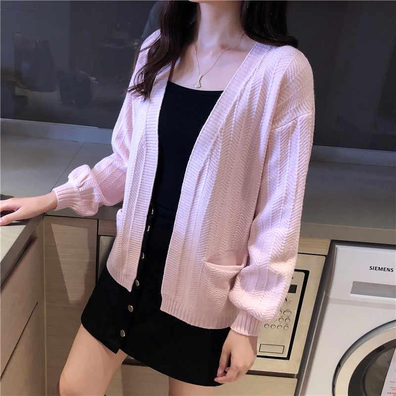 5210 (Fila 1, Fila 2, Zhongfang) nuevo vestido de otoño camisa de punto delgada de color puro, abridor de bolsillo, vestido femenino chal 35