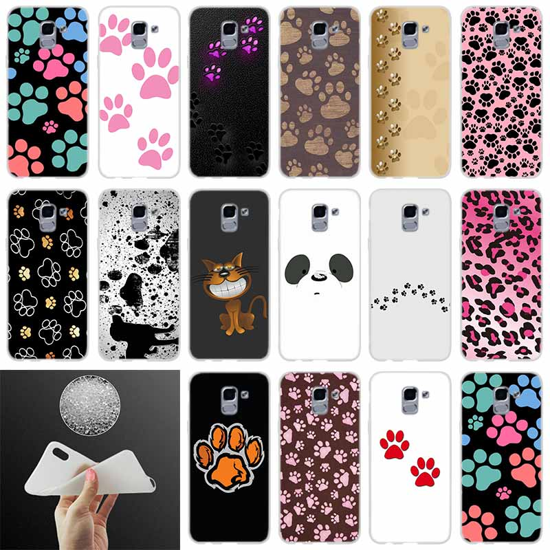 <font><b>silicone</b></font> Phone case Cover dog footprint Paw FOR <font><b>Coque</b></font> <font><b>Samsung</b></font> Galaxy <font><b>J6</b></font> J4 J8 J7 <font><b>2018</b></font> <font><b>Plus</b></font> J3 J5 J7 Prime Pro 2017 2016 Casse image
