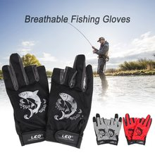 1 Pair 3 Fingerless Fishing Gloves Breathable Quick Drying Anti-slip Fishing Gloves Outdoor Sports Cycling Camping Running недорого