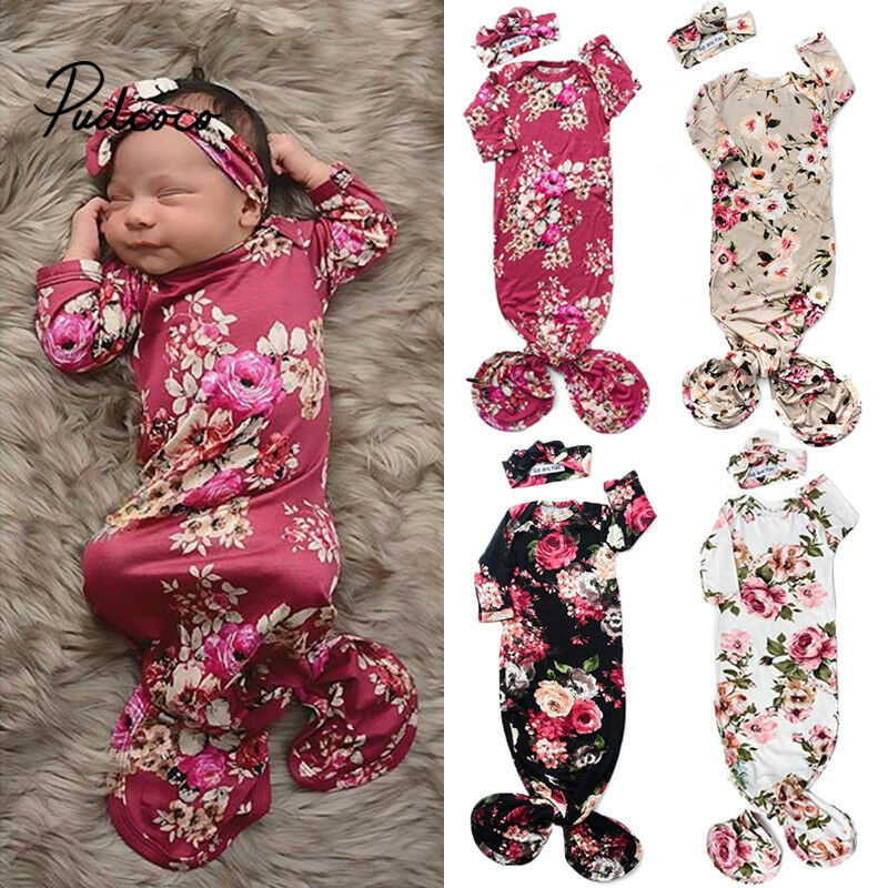 Pudcoco 2020 Baby Sleeping Bags Newborn Baby Cotton Swaddle Blanket Wrap Sleeping Bag +Headband Flower Pattern 2pcs Size 0-6M