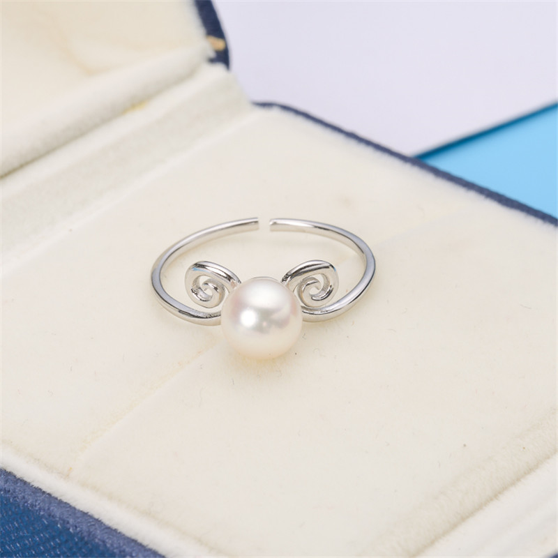 925 Sterling Silver Pearl Ring Sets, Ring Findings, Adjustable Ring Jewelry Parts Fittings Charm Accessories Silver Jewellery