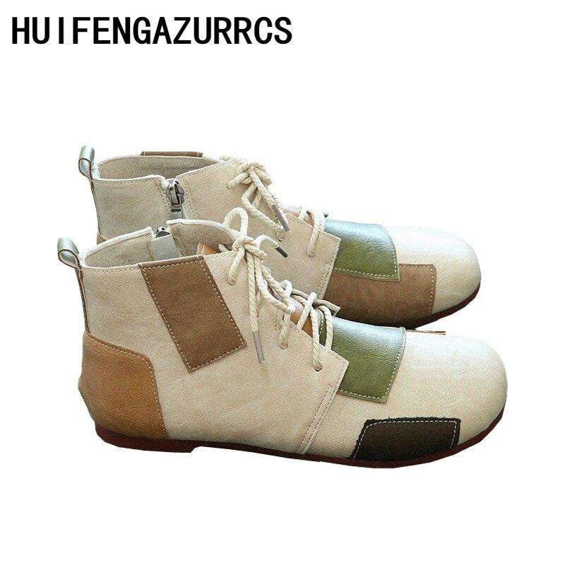 HUIFENGAZURRCS-Mori fille littéraire et Art rétro coloré tête ronde chaussures attachées, nouvelles bottes de loisirs confortables à la main en automne