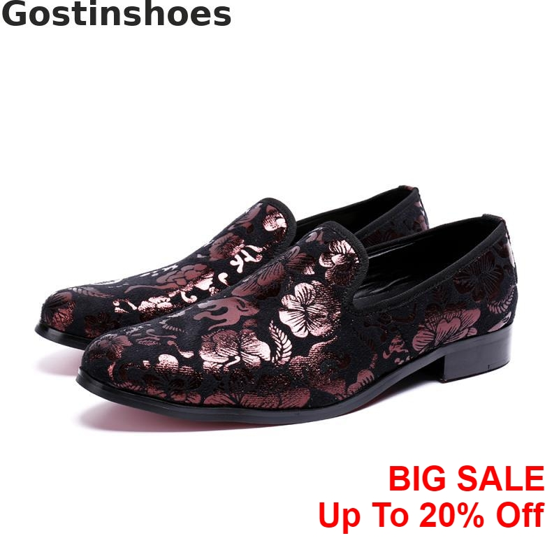 Fashion Purple Genuine Leather Men Shoes Florals Printed Pointed Toe Slip On Set Foot Men Casual Shoes Loafers Daily Leisure Men