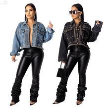 Jaqueta Jeans Feminina com Lantejoulas