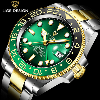 LIGE New Mechanical Automatic Men Watch Gold Relogio Masculino gmt Ceramic Bezel Sport Mens Watches Top Brand Luxury Wristwatch relogio masculino sekaro moon phase mens watches top brand luxury gold men watch automatic mechanical leather wristwatches
