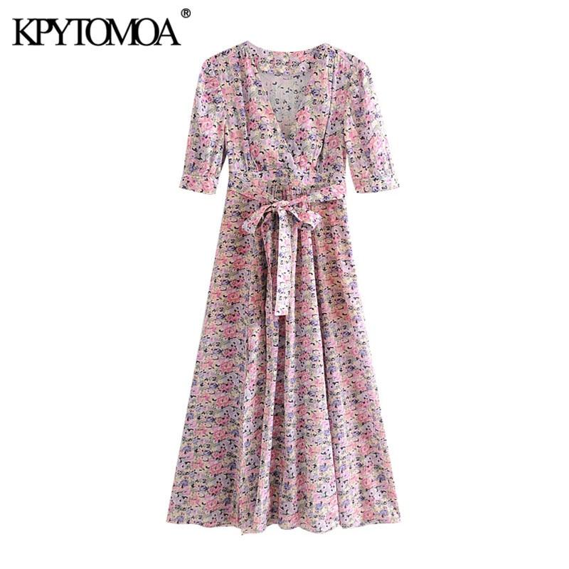 KPYTOMOA Women 2020 Chic Fashion Floral Print With Belt Midi Dress Vintage V Neck With Lining Side Zipper Slit Female Dresses