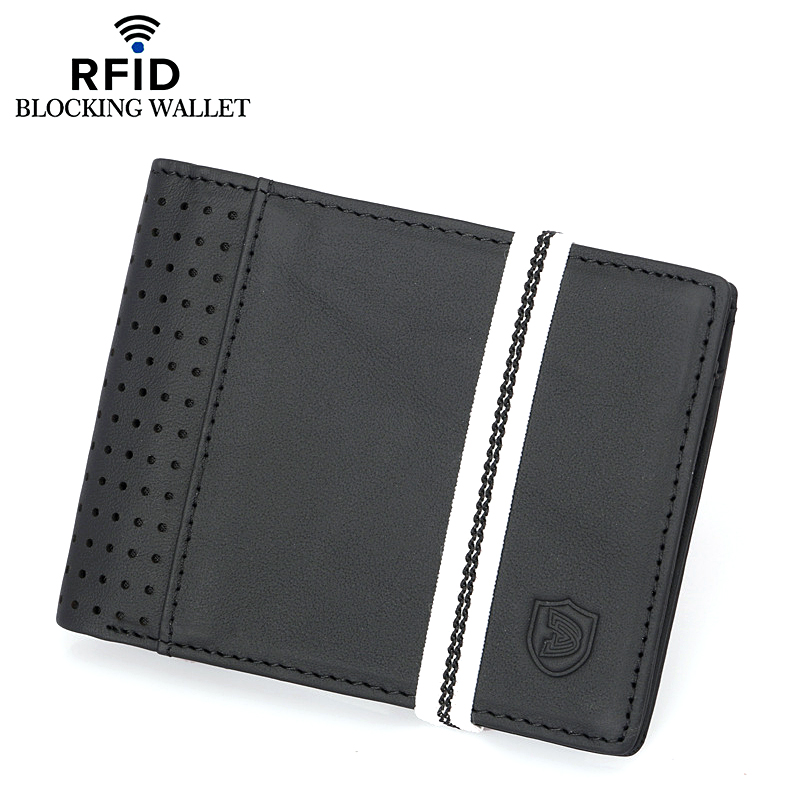 Men Casual Wallet Genuine Leather Solid Color Short Elastic Bandet Multi-card Position Card Holder Multifunction Male Coin Purse