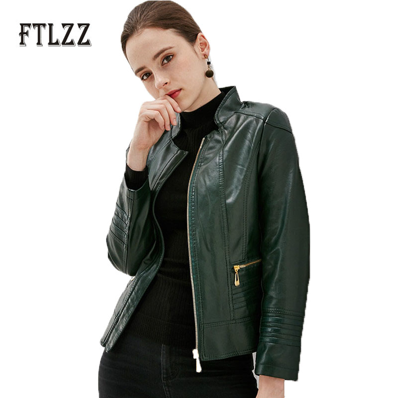 Autumn Winter Red Faux Leahter Jacket 2019 New Fashion Women Slim Plus Size 5xl Zipper Pu   Leather   Coats Ladies Casual Outerwear