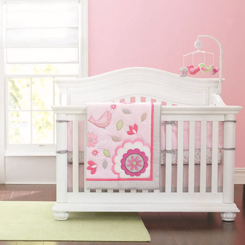 7pcs Embroidery Flower Bed Linen Crib Set Cotton Baby Room Infant Baby Bedding Ropa Cuna (4bumpers+duvet+bed Cover+bed Skirt)