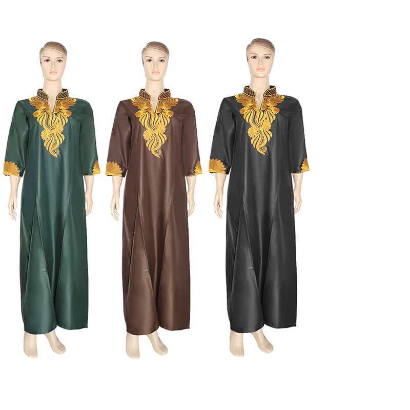 MD אפריקאי שמלות לנשים אנקרה דאשיקי מקסי שמלת זהב רקום פרחוני שמלת דרום אפריקה גבירותיי בגדי גודל גדול גלימה