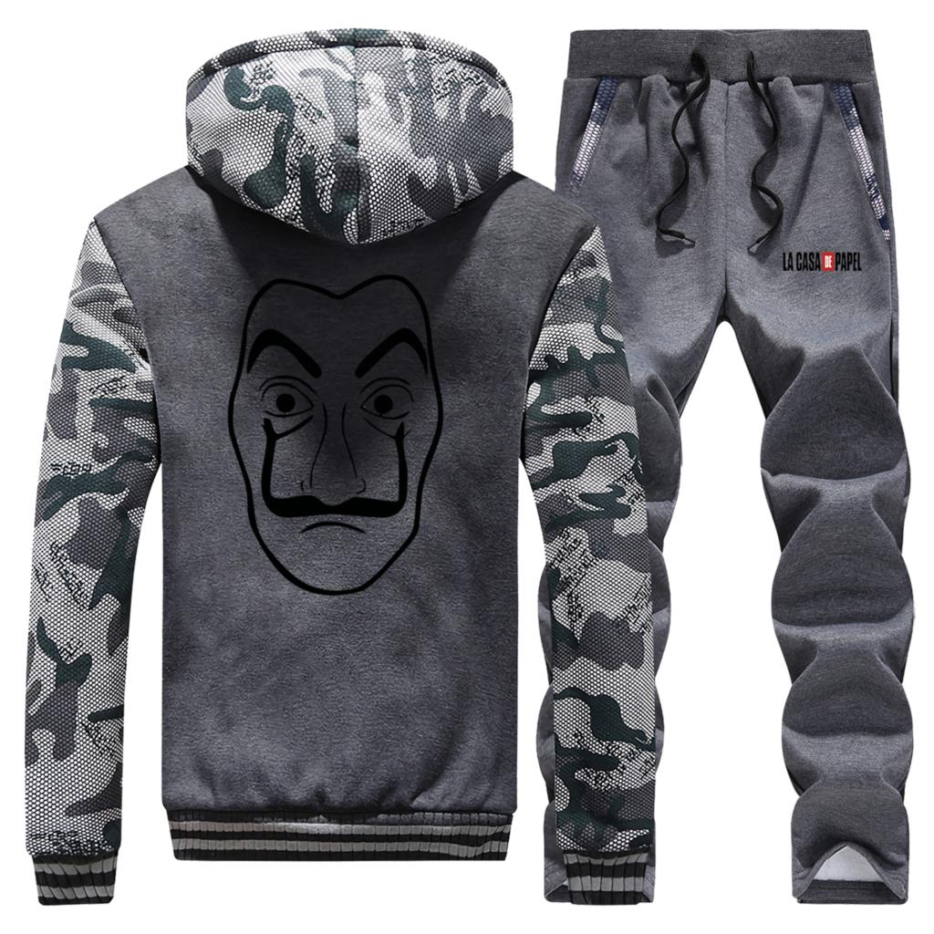 Vintage Print La Casa De Papel Hot Sale Winter Hoodie Mens Camouflage Coat Thick Suit Warm Jackets Sportswear+Pants 2 Piece Set