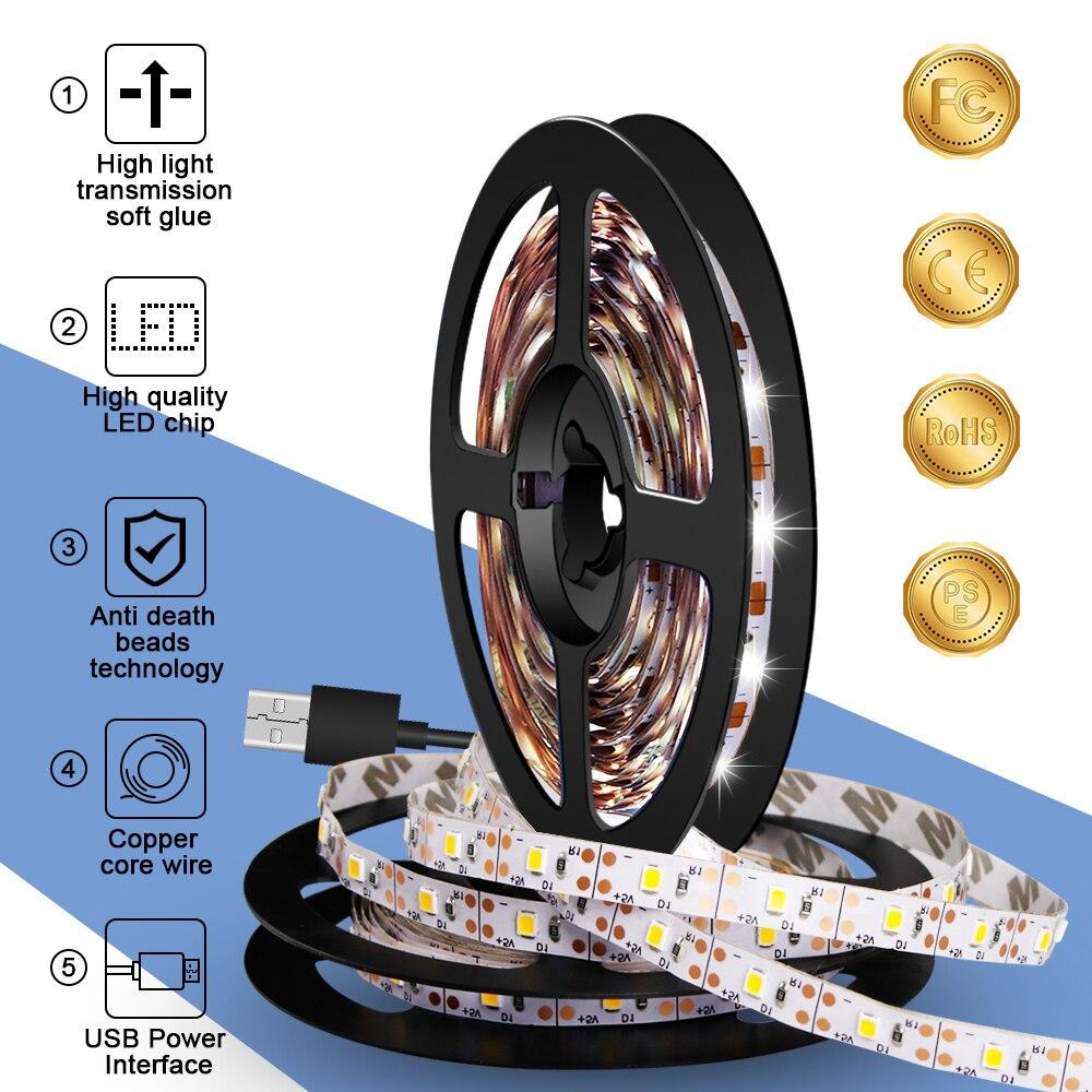 USB LED Strip 5V Flexible Strip LED Light Tape Ribbon Wireless LED Lamp Cabinet Light Closet Lamp TV Backlight Lighting SMD 2835