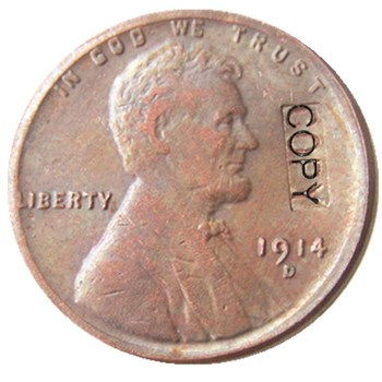 미국 1914d 1 센트 100% 구리 복사 동전