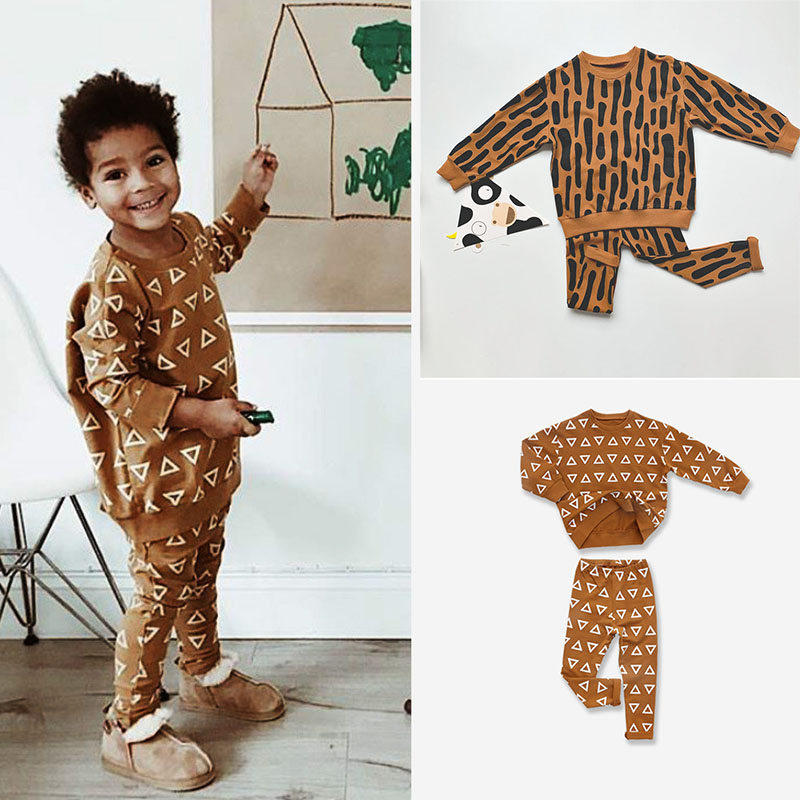 EnkeliBB Kids Spring Long Sleeve Leopard Print Sweatshirt And Pants Sets Stylish Trends Boys Girls Clothing Outfit Kids Sets