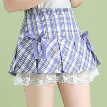 Student Plaid JK Miniskirt Spring and Summer Fashion High Waist Lace Panel Pleated Skirt Cute Sweet Girl Dancing Skirt