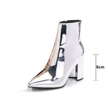 Fashion Autumn Bright Leather Thick High Heels Short Boots Women Winter Patent Leather With Plush Pointed Toe Ankle Shoes WB1493(China)