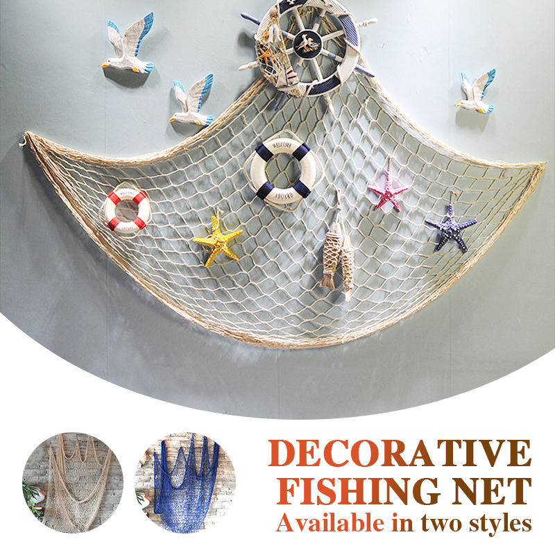 Decorative Fishing Net Mediterranean Blue/Beige Wall Decoration Bar Home Decor Hemp Rope Ceative Nautical Office 1*2M Beach