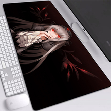 Anime Girl Red Eyes Mats Mice Black Mouse Pad Desktop Heated Custom with Sewn Edges Keyboards 800x400mm Desk Mat