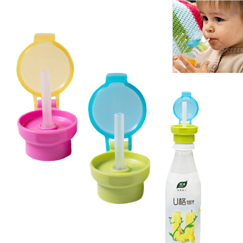 Portable Safety Drinking Straw Cover Spill Proof Water Drink Bottle Twist Cover Cap Drink Straw Sippy Cup Kid Baby Feeding