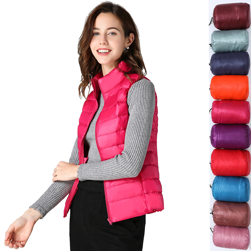 Ultra Light Duck Down vest Women Matt Fabric Lightweight vest coat Warm Female Windbreaker vest Women's Down plus size waistcoat