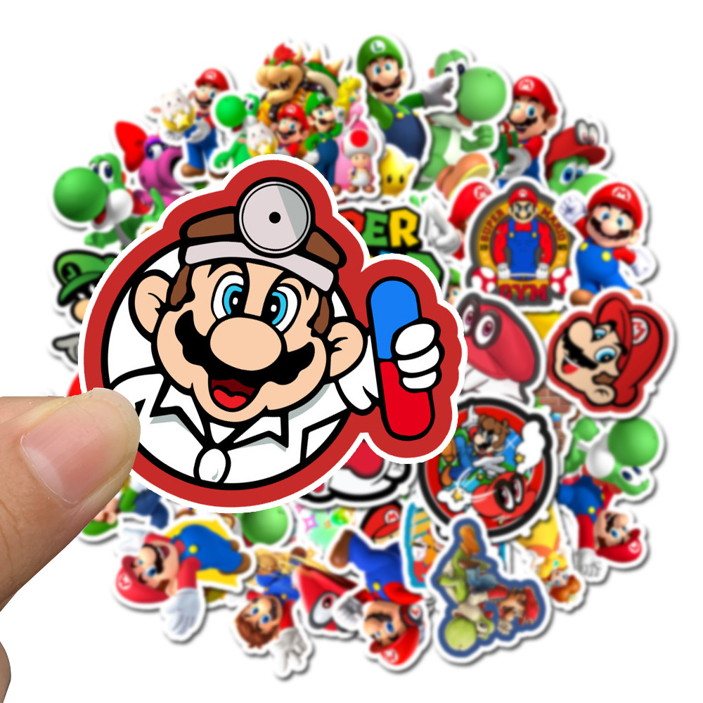 10/30/50pcs Pack Cartoon Super Mario Stickers Waterproof PVC Laptop Luggage Motorcycle Car Skateboard Scrapbook Kids Toy Sticker