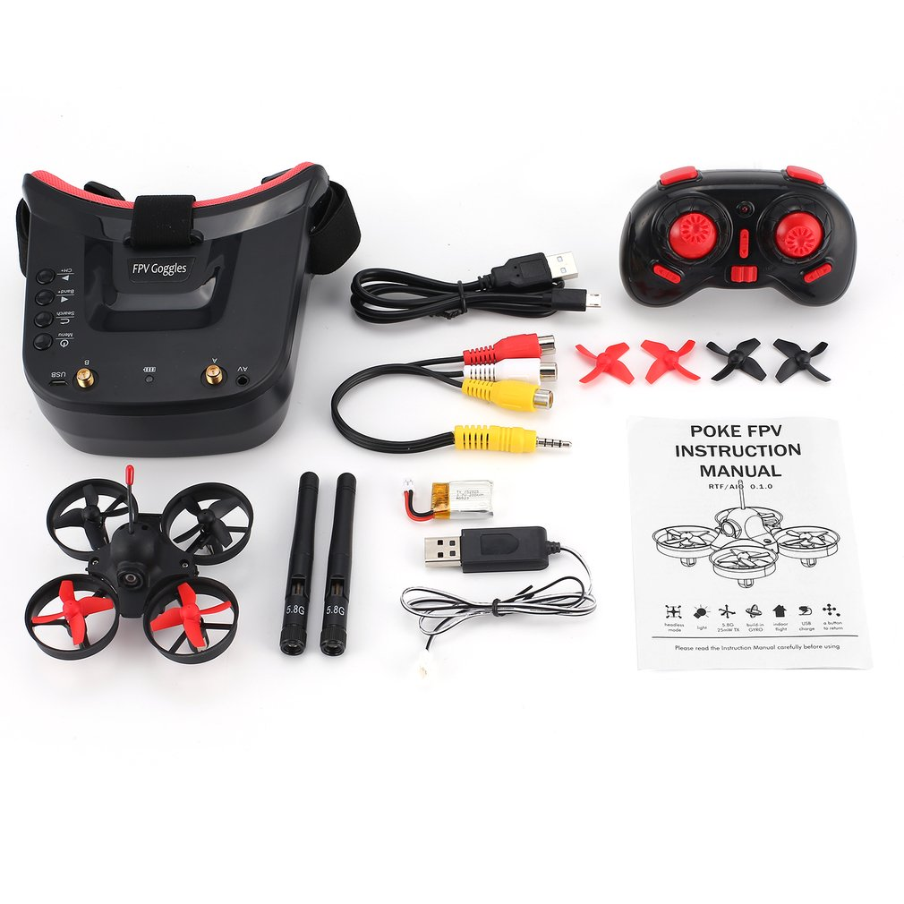 5 8G 40CH FPV Camera Mini RC Racing Drone Quadcopter Aircraft with 3in Headset Auto-searching Goggles Receiver Monitor