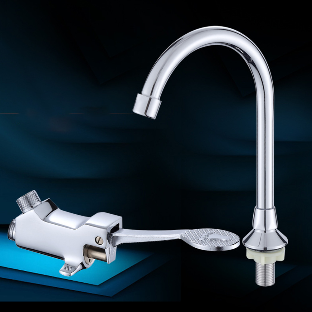 Stainless Steel Foot Pedal Valve Copper Bathroom Basin Faucet Single Cold Tap Water Faucet Hospital Hotel Pedal Water Faucet