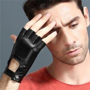 Image 5 - 指革手袋カードライビンググローブ男性の本物のユニセックス女性女性スポーツハーフフィンガー戦術的なアンチスリップ通気性
