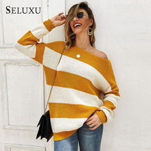 Seluxu 2019 New Autumn Women Sweater Striped Round Neck Collar Tops Long Sleeve Sexy