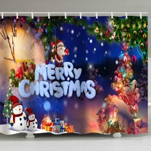 Christmas shower curtain, Christmas element scene, waterproof, perforation-free, 12 hook print shower curtain. цена 2017