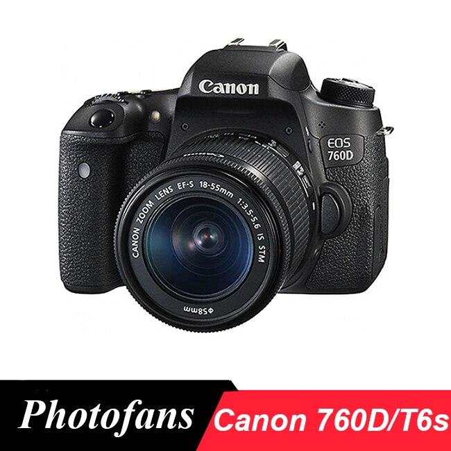 Цифровая зеркальная камера Canon 760D / T6s с объективом STM 18-55 мм-24,2 МП-вариугольный сенсорный экран-Wi-Fi