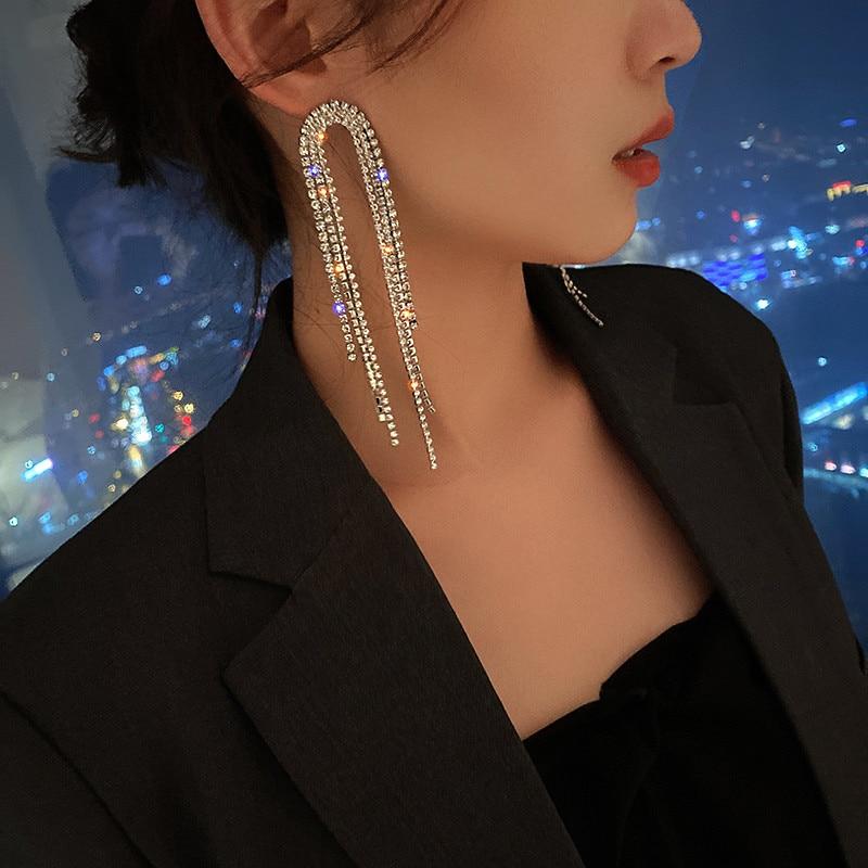 FYUAN Fashion Long Tassel Crystal Drop Earrings for Women Geometric Full Rhinestone Earrings Statement Jewelry Gifts