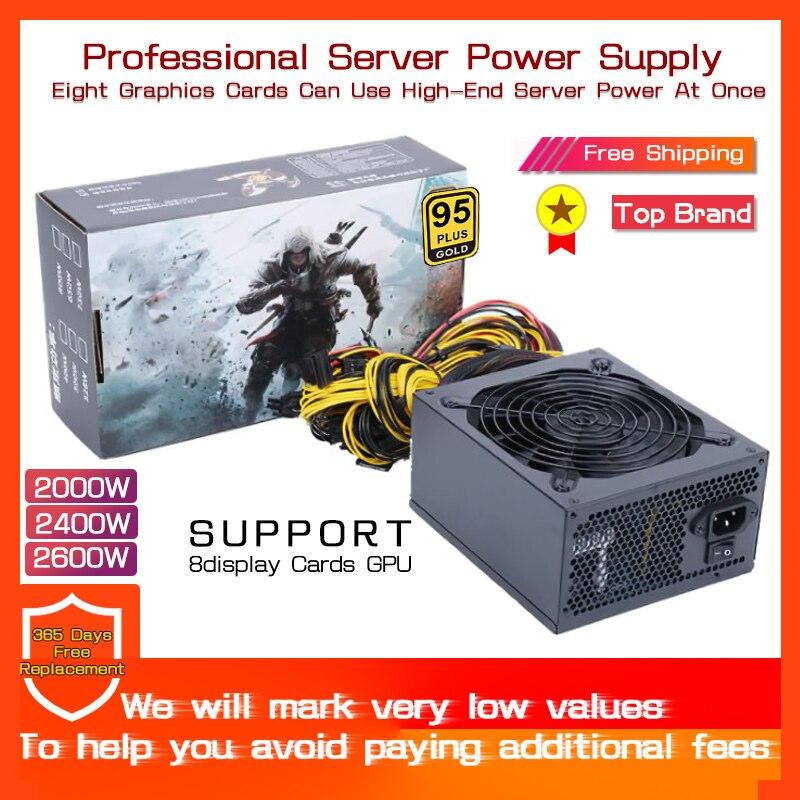 1800W 2000W 2400W 180V-260V ATX ETH Mining Bitcoin Power Supply 95% Efficiency Support 8 Display Cards GPU for BTC Bitcoin Miner 1