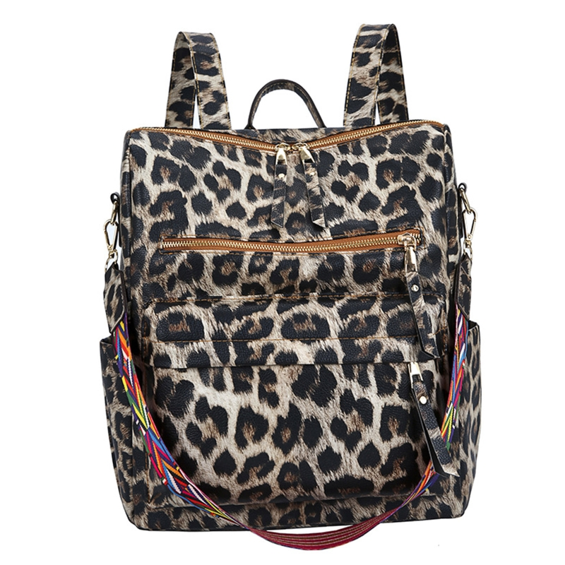 Women Fashion New Leopard Backpack PU Leather Anti-theft Daypack Large Capacity Casual Satchel Shoulder Bag for Teenager Girls