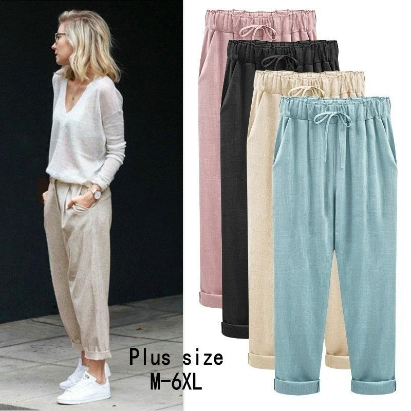 ZOGAA Women Harem Pants Wide Leg Pants Female Trousers Casual Spring Summer Loose Cotton Linen Overalls Pants Plus Size M-6XL