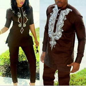Image 1 - H&D 2020 African Women Dress South Africa Suits For Women Bazin Riche Embroidery Dashiki Shirt Pant Set Outfit Suit Clothes Robe