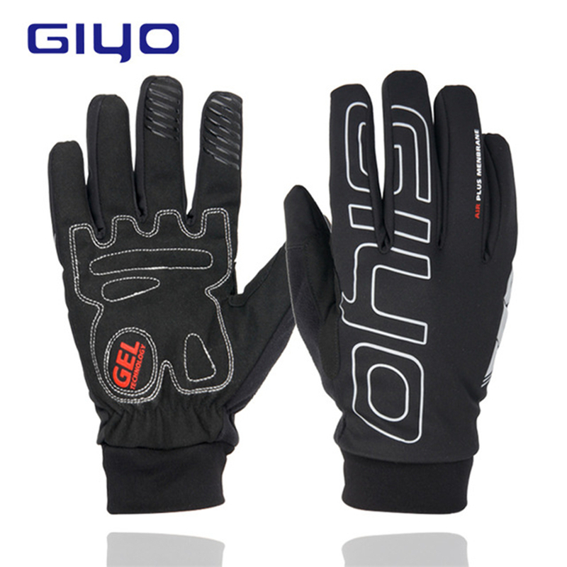 GIYO Bike Touch Screen Winter Gloves Warm Fleece Bicycle Full Finger Waterproof Gloves Cycle Windproof Motorbike Gloves For Man
