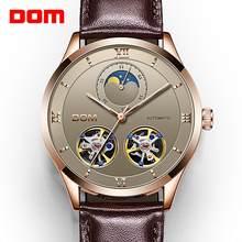 Dom relógios mecânicos homens esqueleto relógio automático mecânico relógios de couro genuíno à prova dself água auto-liquidação relógio M-1270