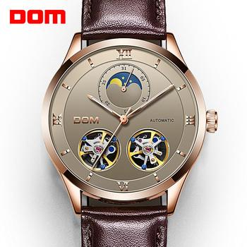 DOM Mechanical Watches Men Skeleton Watch Automatic Mechanical Men Genuine Leather Watches Waterproof Self-winding Clock  M-1270 leisure automatic mechanical genuine leather waterproof watch with rome digital business for various occasions m172s brown