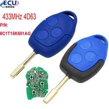 מרחוק רכב מפתח 433MHz 4D63 שבב FOB 3 כפתורים FO21 להב עבור פורד מעבר WM VM 2006 2014 P/N: 6C1T15K601AG שחור או כחול ראש