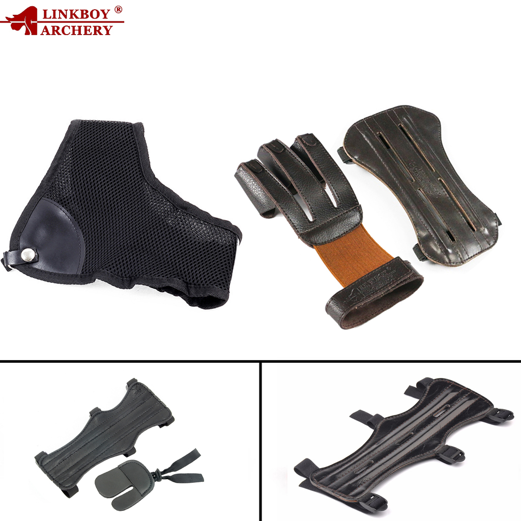 1pc Linkboy Archery 3 Finger Gloves Leather Arm Guard Chest Protector Bow and Arrow Hunting Accessory Outdoor Shooting